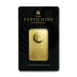 Genuine 1 oz 0.9999 Fine Gold Bar - Perth Mint