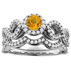 0.92 CTW Citrine & Diamond Ring 14K White Gold - REF-93F2N