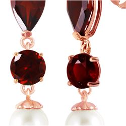 Genuine 10.50 ctw Garnet & Pearl Earrings 14KT Rose Gold - REF-40M9T