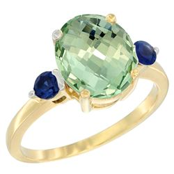2.64 CTW Amethyst & Blue Sapphire Ring 10K Yellow Gold - REF-24F5N