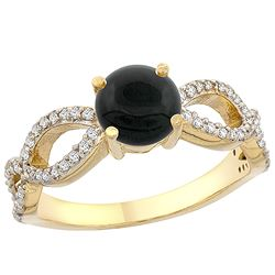 0.89 CTW Onyx & Diamond Ring 10K Yellow Gold - REF-49R2H