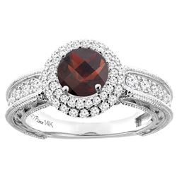 1.51 CTW Garnet & Diamond Ring 14K White Gold - REF-91X9M