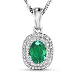 Natural 2.46 CTW Zambian Emerald & Diamond Pendant 14K White Gold - REF-53T2H