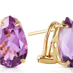 Genuine 10 ctw Amethyst Earrings 14KT Yellow Gold - REF-50K7V
