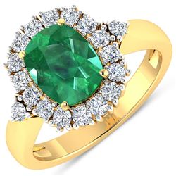 Natural 2.39 CTW Zambian Emerald & Diamond Ring 14K Yellow Gold - REF-112R3F