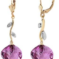 Genuine 21.52 ctw Amethyst & Diamond Earrings 14KT Yellow Gold - REF-60W4Y