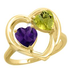 2.61 CTW Diamond, Amethyst & Lemon Quartz Ring 10K Yellow Gold - REF-23K5W