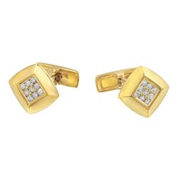 Natural 0.48 CTW Diamond Cuff Links 18K Yellow Gold - REF-157W5H