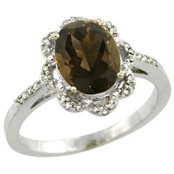1.94 CTW Quartz & Diamond Ring 14K White Gold - REF-45H8M