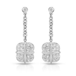 Natural 0.50 CTW Diamond Earrings 14K White Gold - REF-74N7Y