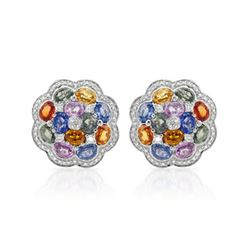 Natural 11.86 CTW Multi-Sapphire & Diamond Earrings W=8MM 14K Gold - REF-224N3Y