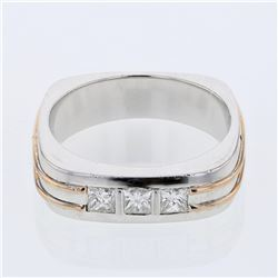 Natural 0.49 CTW Princess Diamond Ring 14K Two Tone Yellow Gold - REF-204W3H