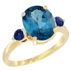 2.64 CTW London Blue Topaz & Blue Sapphire Ring 14K Yellow Gold - REF-32R8H