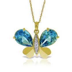 Genuine 9.1 ctw Blue Topaz & Diamond Necklace 14KT Yellow Gold - REF-128W2Y