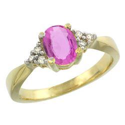 1.06 CTW Pink Sapphire & Diamond Ring 10K Yellow Gold - REF-43X8M