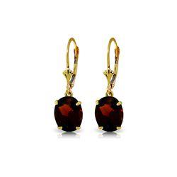 Genuine 6.25 ctw Garnet Earrings 14KT Yellow Gold - REF-44P3H