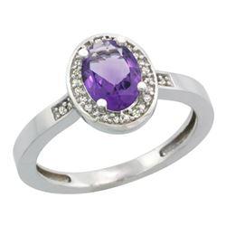 1.15 CTW Amethyst & Diamond Ring 14K White Gold - REF-37F9N