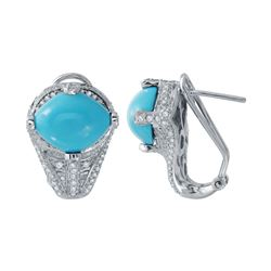 Natural 6.82 CTW Turquoise & Diamond Earrings 14K White Gold - REF-117F2M