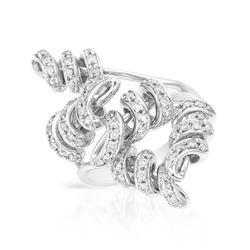 Natural 0.71 CTW Diamond Ring 14K White Gold - REF-135F2M