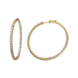Natural 4.43 CTW Diamond Earrings 14K Yellow Gold - REF-375T3X