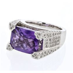 Natural 9.21 CTW Amethyst & Diamond Ring 18K White Gold - REF-220F5M