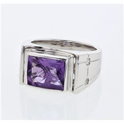 Natural 3.34 CTW Amethyst & Princess Diamond Ring 14K White Gold - REF-86T4X