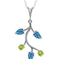 Genuine 0.95 ctw Blue Topaz & Peridot Necklace 14KT White Gold - REF-32A2K