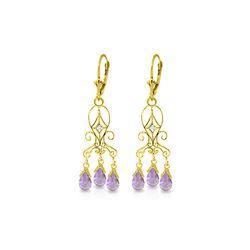 Genuine 4.81 ctw Amethyst & Diamond Earrings 14KT Yellow Gold - REF-46K7V