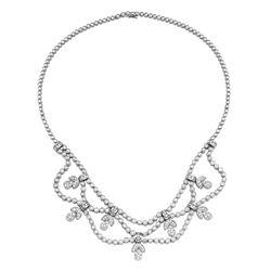 Natural 4.36 CTW Diamond Necklace 18K White Gold - REF-806K4R