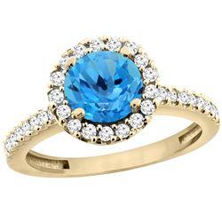 1.38 CTW Swiss Blue Topaz & Diamond Ring 14K Yellow Gold - REF-60V8R