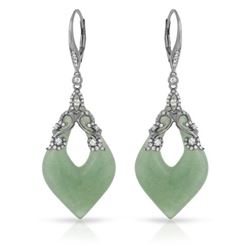 Natural 37.36 CTW Aventurine & Diamond Earrings 14K Gold - REF-88W2H