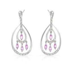 Natural 1.16 CTW Pink Sapphire & Diamond Earrings 14K White Gold - REF-70W2H
