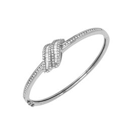 Natural 1.32 CTW Diamond & Baguette Bracelet 18K White Gold - REF-315W9H