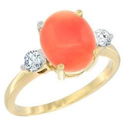 0.20 CTW Diamond & Natural Coral Ring 14K Yellow Gold - REF-68X2M
