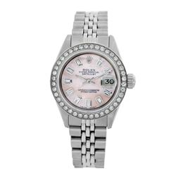 Rolex Pre-owned 26mm Womens Custom Pink MOP Stainless Steel