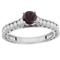 0.90 CTW Garnet & Diamond Ring 14K White Gold - REF-62Y5V