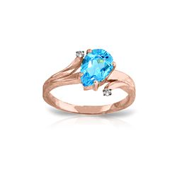 Genuine 1.51 ctw Blue Topaz & Diamond Ring 14KT Rose Gold - REF-51K4V