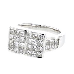 Natural 2.59 CTW Princess Diamond Ring 14K White Gold - REF-433W8H