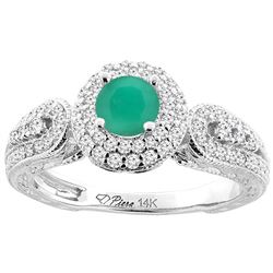 1.01 CTW Emerald & Diamond Ring 14K White Gold - REF-89K9W