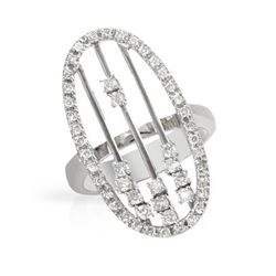 Natural 0.67 CTW Diamond Ring 18K White Gold - REF-145F8M