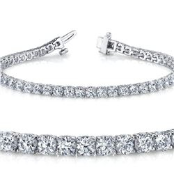 Natural 5.05ct VS2-SI1 Diamond Tennis Bracelet 14K White Gold - REF-403N2H