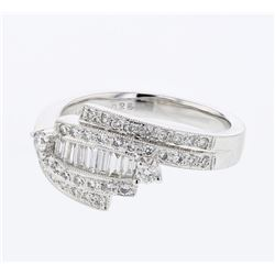 Natural 0.60 CTW Baguette & Diamond Ring 18K White Gold - REF-104K4R