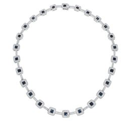 Natural 8.92 CTW Sapphire & Diamond Necklace 14K White Gold - REF-572F4M