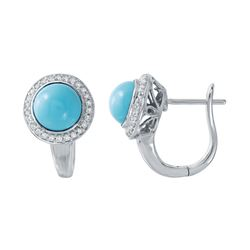 Natural 2.70 CTW Turquoise & Diamond Earrings 14K White Gold - REF-51N3Y