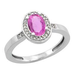 1.15 CTW Pink Sapphire & Diamond Ring 10K White Gold - REF-47W2F
