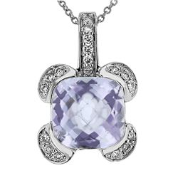 Natural 3.83 CTW Amethyst & Diamond Necklace 14K Gold - REF-45F9M