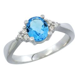 1.06 CTW Swiss Blue Topaz & Diamond Ring 14K White Gold - REF-36W9F