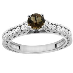 0.86 CTW Quartz & Diamond Ring 14K White Gold - REF-62M4A