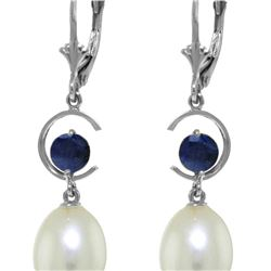 Genuine 9 ctw Pearl & Sapphire Earrings 14KT White Gold - REF-39X4M