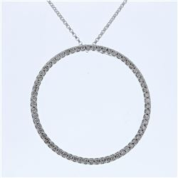 Natural 0.83 CTW Diamond Necklace 14K White Gold - REF-72K2R